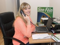 Toireasa Ferris at work in the Sinn Fein offices in Moyderwell. Photo by Dermot Crean