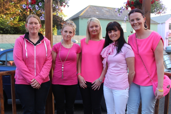At the Breast Cancer fundraiser in McElligott's Bar, Ardfert on Friday night were, from left; Susan Silles, Deirdre Delaney, Mairead Kelliher, Sonya Hogan, Sharon O'Sullivan. Photo by Gavin O'Connor