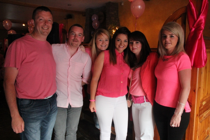 At the Breast Cancer fundraiser in McElligott's Bar, Ardfert on Friday night were, from left;  Clive Ivory, Martin McGowan, Ashling Griffin, Aoife Griffin, Tanya McGowan, Serena Griffin. Photo by Gavin O'Connor.