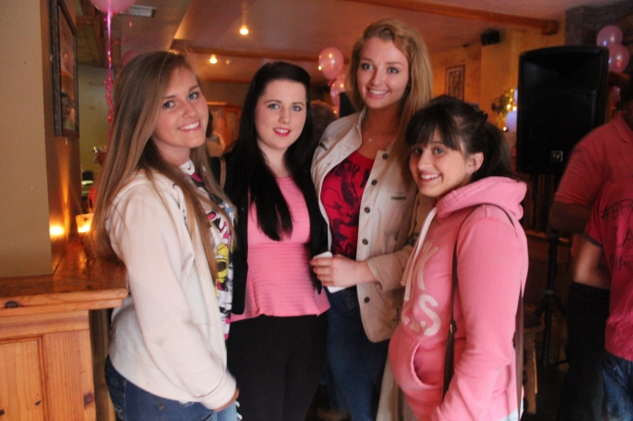 At the Breast Cancer fundraiser in McElligott's Bar, Ardfert on Friday night were, from left; Clodagh Culloty, Zoe Perry, Rachel Healy, Sarah Kelly. Photo by Gavin O'Connor.