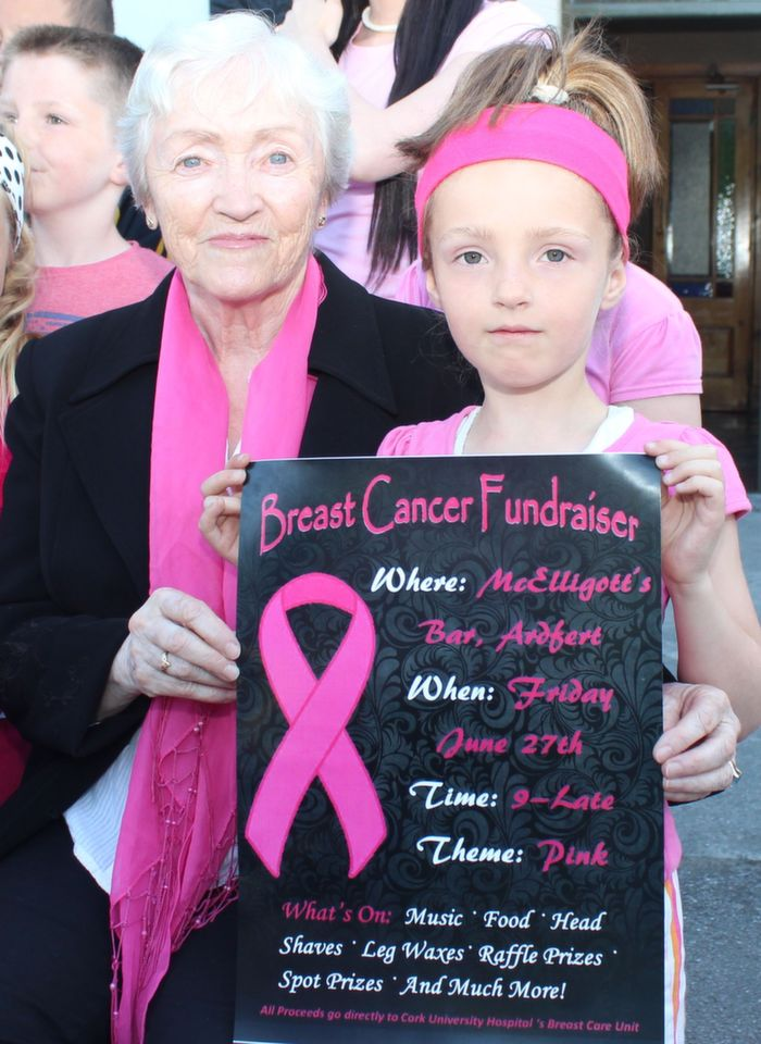 Ellen O'Riordan and Sophie McGowan promoting the Breast Cancer Fundraiser which takes place in McElligott's Ardfert on Friday night. Photo by Dermot Crean