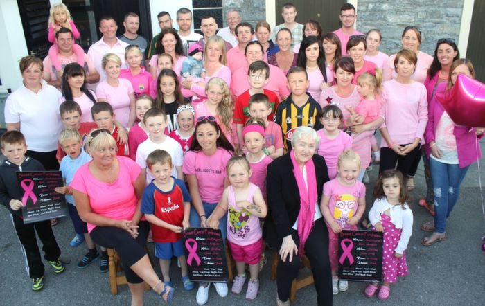 Andrea Hogan (front, centre) with friends and family promoting the Breast Cancer Fundraiser which takes place in McElligott's Ardfert on Friday night. Photo by Dermot Crean