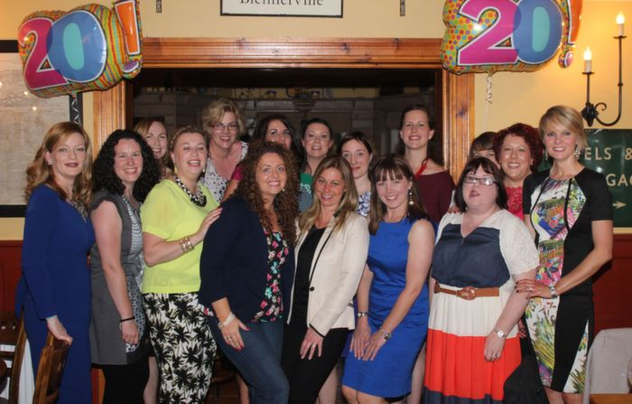 Ladies from the Balloonagh Class of 1994 gather at Stoker's Lodge on Saturday night. Photo by Dermot Crean