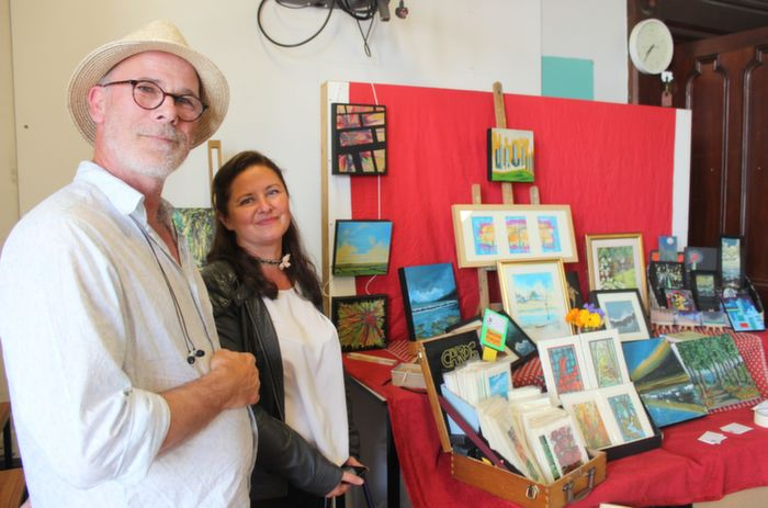 Abe Boland, Annascaul and Delia O'Donoghue, Castleisland at Abe's art stand at the Bluebell Markets at Collis Sandes House on Saturday. Photo by Dermot Crean