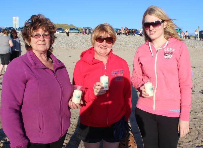 Breda Collins, Nancy Hurley and Breda Griffin at the Celebration of Light event in aid of Recovery Haven at Banna Beach on Friday evening. Photo by Dermot Crean