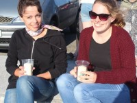 Stephanie Schwenn and Lara Albert, au pairs from Germany but staying in Abbeydorney and Lixnaw at the Celebration of Light event in aid of Recovery Haven at Banna Beach on Friday evening. Photo by Dermot Crean