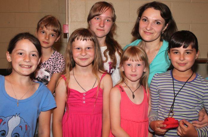 At the Chernobyl Children's Foundation in Austin Stacks clubhouse were, from left front row: Anstasia Ivashkeich, Anlina Hoza, Valeteina Marosha,  Anna Yakeubovich, back row: Yana Zubko, Aryna Kremenevskaya and  Tatiana Katsuba (Interpreter)