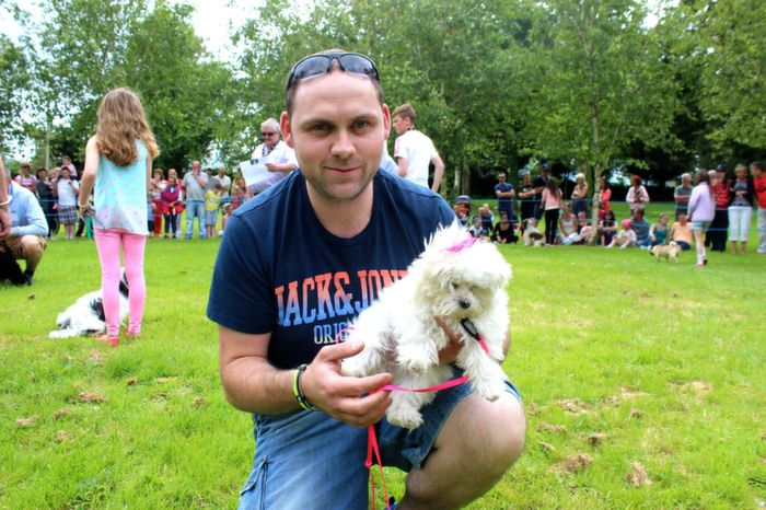Johnny Quinlan, Ballyduff, with his dog Lulu at the Dog Show in the Town Park on Saturday. Photo by Dermot Crean
