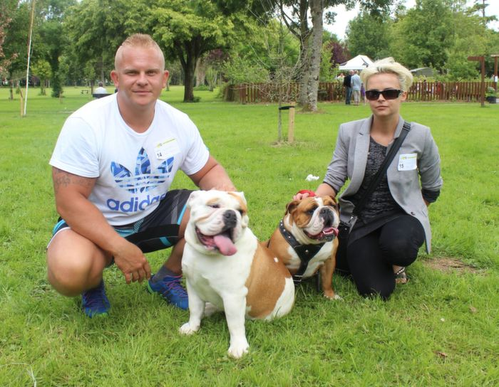Mariusz and Ilona Tusinski with Alfie and Sisi at the Dog Show in the Town Park on Saturday. Photo by Dermot Crean