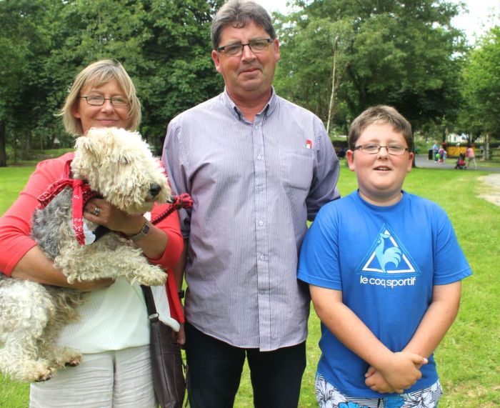 Sharon, John and Eoin Buckley, Listellick, with Toby, at the Dog Show in the Town Park on Saturday. Photo by Dermot Crean