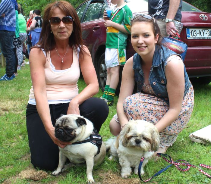 Helen and Laura Cunningham with Stewie and Pebbles at the Dog Show in the Town Park on Saturday. Photo by Dermot Crean
