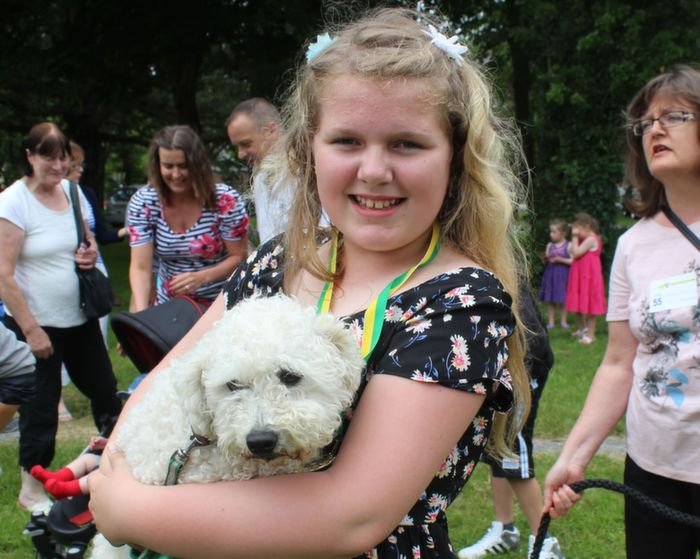 Sophie Foran, Tralee, with Casper at the Dog Show in the Town Park on Saturday. Photo by Dermot Crean