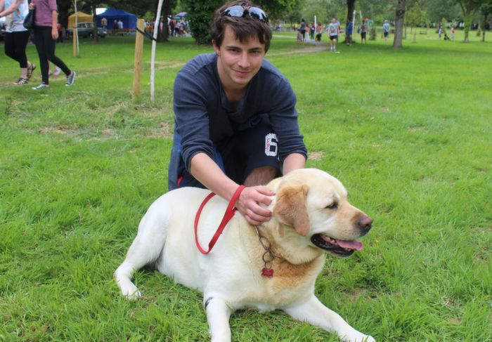 Cian Clifford, Tralee, with Zo at the Dog Show in the Town Park on Saturday. Photo by Dermot Crean
