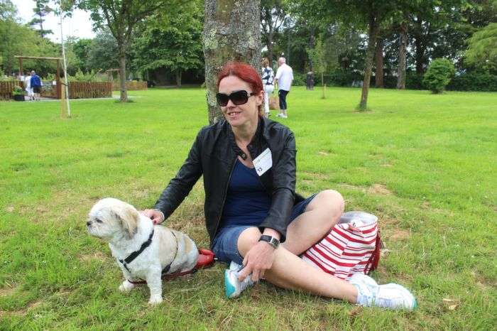 Maria O'Carroll, Tralee with Roxy at the Dog Show in the Town Park on Saturday. Photo by Dermot Crean