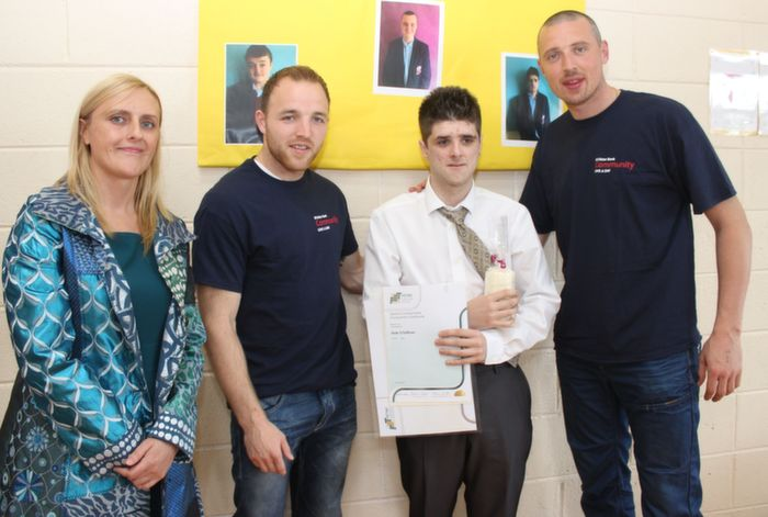 St Ita's and St Joseph's student, Dale O'Sullivan, with his certificate presented to him by Kerry GAA stars Darran O'Sullivan and Kieran Donaghy. Also included is Principal Grace Sheehan. Dale also received the Spirit of Sports Award. Photo by Dermot Crean