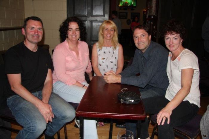 The winning quiz team of John Walsh, Anne Fitzgerald, Mike Fitzgerald and Marina Barry Walsh were presented with their prize by organiser, Lorraine Scanlon.