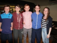 Under 14 Rockies enjoying the quiz night - Michael O'Gara, Dara Barry Walsh, Donagh McMahon, Niall Hurley and Niamh McMahon. Photo by Adrienne McLoughlin
