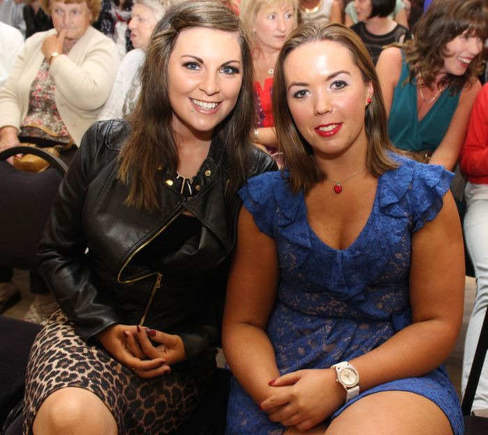 Elaine Lawlor, Ballyheigue and Catriona Ashe, Ardfert, at the Ballyheigue Fashion Show in the Community Centre on Wednesday night. Photo by Dermot Crean
