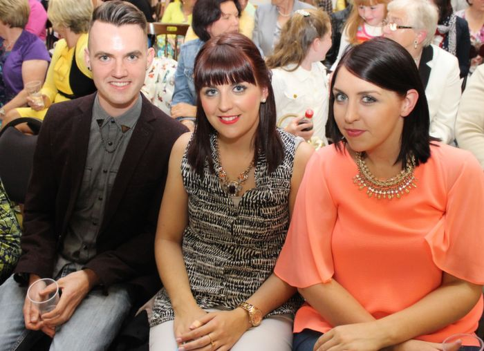David O'Carroll, Ballyheigue, Lorraine O'Hanlon and Regina O'Hanlon, Listowel,  at the Ballyheigue Fashion Show in the Community Centre on Wednesday night. Photo by Dermot Crean
