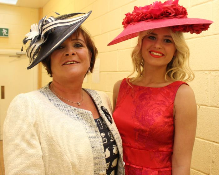 Mary O'Halloran from Ballyheigue and model Kinga Grunau wearing fashions from Jasmine Boutique Tralee and Killarney, before the Ballyheigue Fashion Show in the Community Centre on Wednesday night. Photo by Dermot Crean