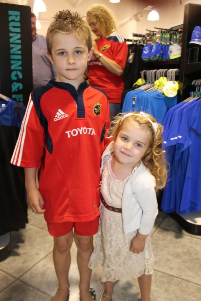 At Lifestyle Sports in Manor West to meet the Munster players were, from left: William and Caoimh Summers. Photo by Gavin O'Connor.