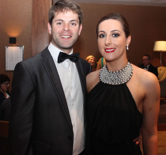 Conor O'Donnell and Adrienne Heaslip at Oliver Hurley's 50th birthday celebrations at the Fels Point Hotel on Friday night. Photo by Dermot Crean
