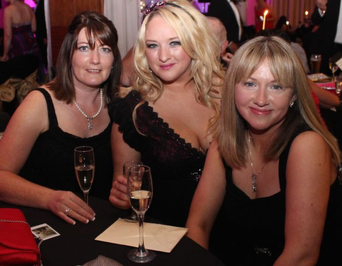 Majella Stack, Jackie O'Mahony and Maria Griffin at Oliver Hurley's 50th birthday celebrations at the Fels Point Hotel on Friday night. Photo by Dermot Crean