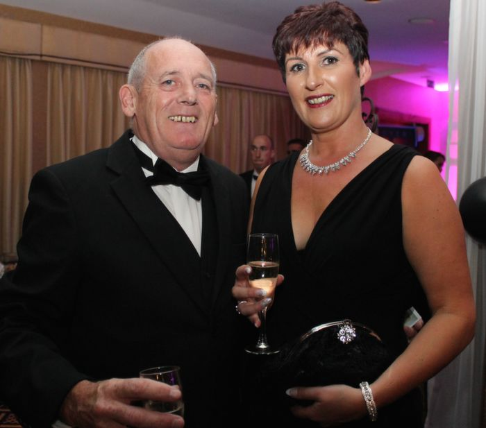 Martin and Dara Gough of Shannon Musical Society at Oliver Hurley's 50th birthday celebrations at the Fels Point Hotel on Friday night. Photo by Dermot Crean