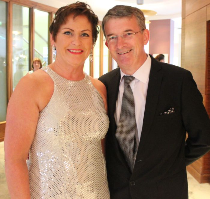 Oonagh and Anthony O'Gara at Oliver Hurley's 50th birthday celebrations at the Fels Point Hotel on Friday night. Photo by Dermot Crean