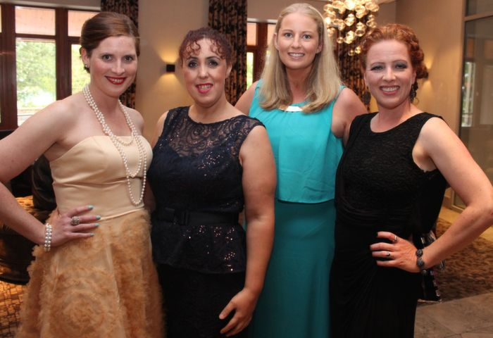 Anna Curtin, Rebecca Roche, Colette Costello and Karen Soffe at Oliver Hurley's 50th birthday celebrations at the Fels Point Hotel on Friday night. Photo by Dermot Crean
