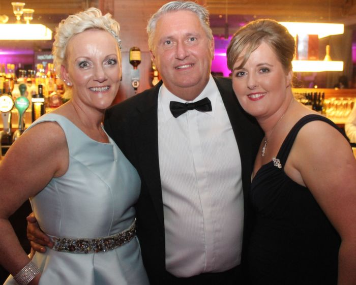 Jill Hannon, birthday boy Oliver Hurley and Michelle Kerins at Oliver Hurley's 50th birthday celebrations at the Fels Point Hotel on Friday night. Photo by Dermot Crean