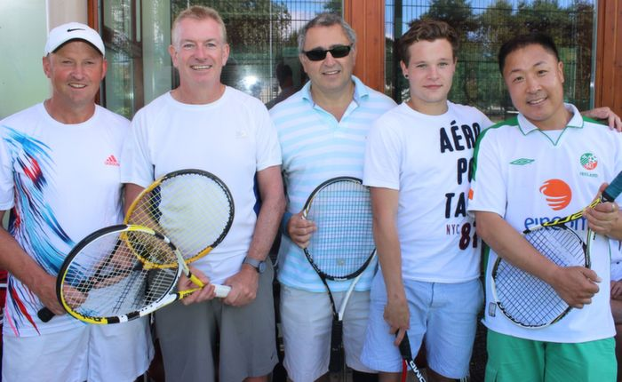 John Hennessy, Kieran Ruttledge, George Philips, Kieran Earley and Chris Sun at the Tralee Tennis Club's annual barbecue on Saturday afternoon. Photo by Dermot Crean