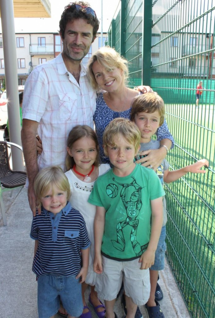 Finn, Saibh, Cael and Senan with mom and dad James and Clodagh McCloskey at the Tralee Tennis Club's annual barbecue on Saturday afternoon. Photo by Dermot Crean