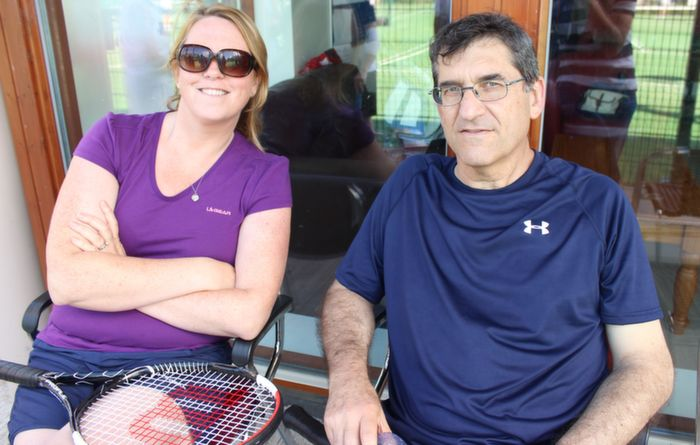 Elaine Larkin and Nick O'Mahoney  at the Tralee Tennis Club's annual barbecue on Saturday afternoon. Photo by Dermot Crean