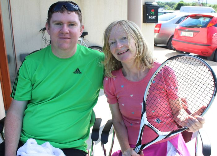 Anthony Barry and Sally Ryle at the Tralee Tennis Club's annual barbecue on Saturday afternoon. Photo by Dermot Crean