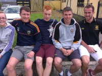At the 'The Trevor Barrett Memorial Hurling Tournament' were, from left: Aisling O'Mahony, Conor Jordan, Shane O'Callaghan, Fergal McNamara, Paul Barrett. Photo by Gavin O'Connor.
