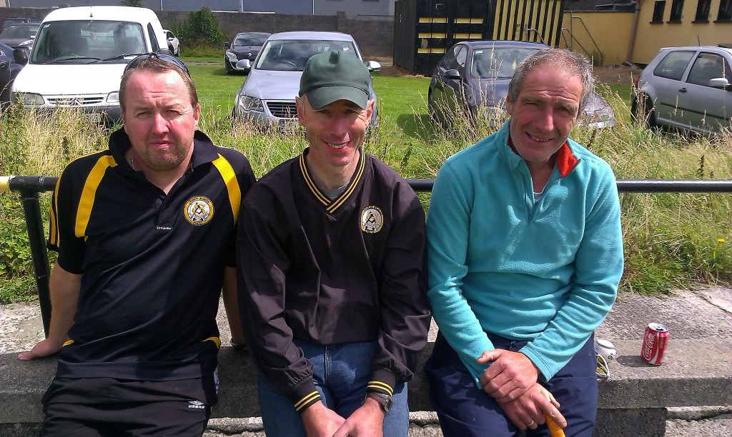 At the 'The Trevor Barrett Memorial Hurling Tournament' were, from left: Maurice Lenihan, Dick McElligott, George Jordan. Photo by Gavin O'Connor.