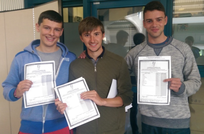 Receiving their Leaving Cert results in Mercy Mounthawk were, from left: Dylan Sheehy, Brian Lynch and David Kavanagh. Photo by Gavin O'Connor.