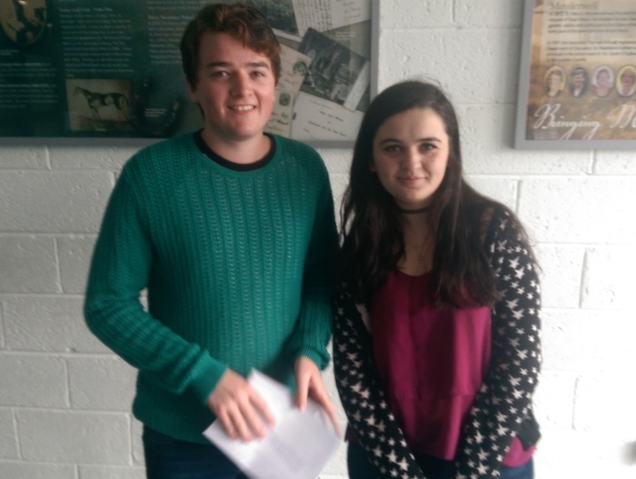 Receiving their Leaving Cert results in Mercy Mounthawk were, from left: Fiachra O'Connor and Holseida Mucaj. Photo by Gavin O'Connor.