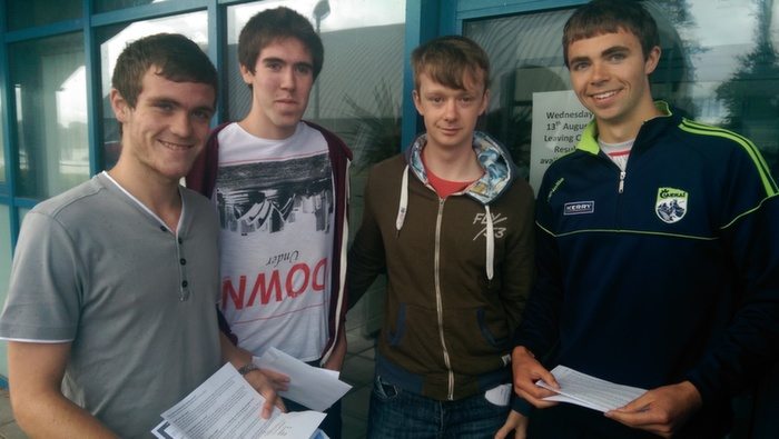 Receiving their Leaving Cert results in Mercy Mounthawk were, from left: Conor O'Mahony, Michael Grimes, Gavin Ryan and Kevin Shanahan. Photo by Gavin O'Connor.
