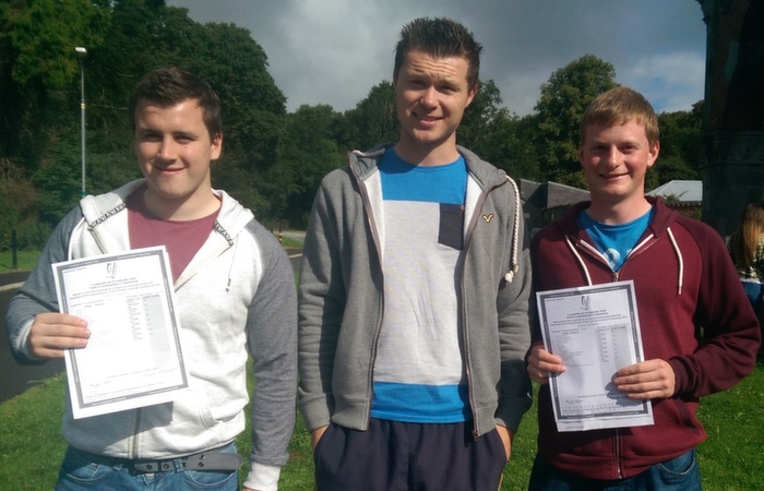Receiving their Leaving Cert results in Mercy Mounthawk were, from left: Bartley Horan, Tomas Kavanagh and Danial Horgan. Photo by Gavin O'Connor.