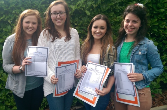 Receiving their Leaving Cert results in Mercy Mounthawk were, from left: Megan Banbry, Kelly Field, Niamh Hurley and Emma Murray. Photo by Gavin O'Connor.