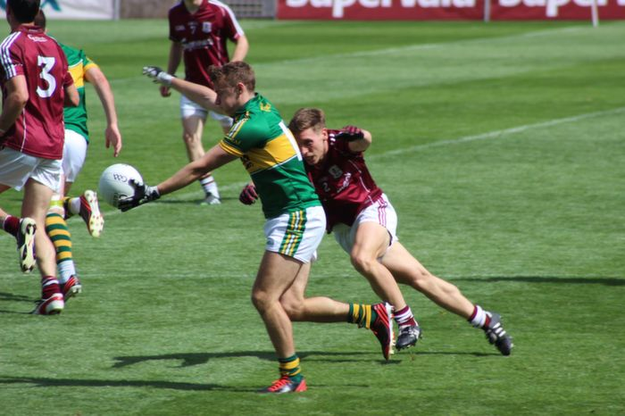 James O'Donogue lines up for a score against Galway in the All Ireland Quarter final. Photo by Dermot Crean.