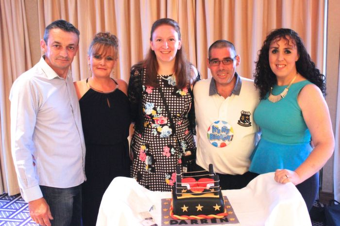 At the fundraiser and 40 birthday celebrations for Darren Mullery were, from left: Sean Flood, Anne Flood, Daniella Mullery, Darren Mullery and Rebecca Roche. Photo by Gavin O'Connor.