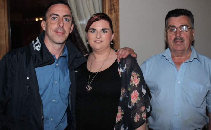 At the fundraiser for Darren Mullery were, from left: Ron Doody, Joanne Doody and William Doody.