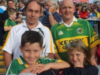 Denis and Donnacha Sayers and Paul and Siún Fitzgibbon, Tralee, at the City End Terrace in the Gaelic Grounds on Saturday. Photo by Dermot Crean