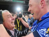 Legends...Ogie Moran and Kieran Donaghy celebrate after Kerry beat Mayo in Limerick on Saturday evening. Photo by Dermot Crean
