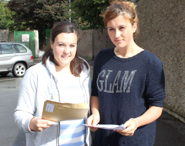 Presentation students Mikheala O'Shaughnessy and Natasha Glock after receiving their results at Presentation school on Wednesday. Photo by Dermot Crean