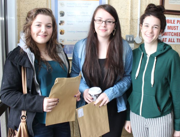 Yvonne McCarthy, Emily Corkery and Ciara Crowley after receiving their results at Presentation school on Wednesday. Photo by Dermot Crean