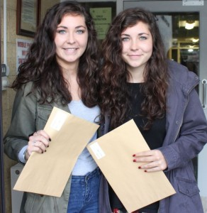 Twins Sophie and Fiona Woulfe after receiving their results at Presentation school on Wednesday. Photo by Dermot Crean